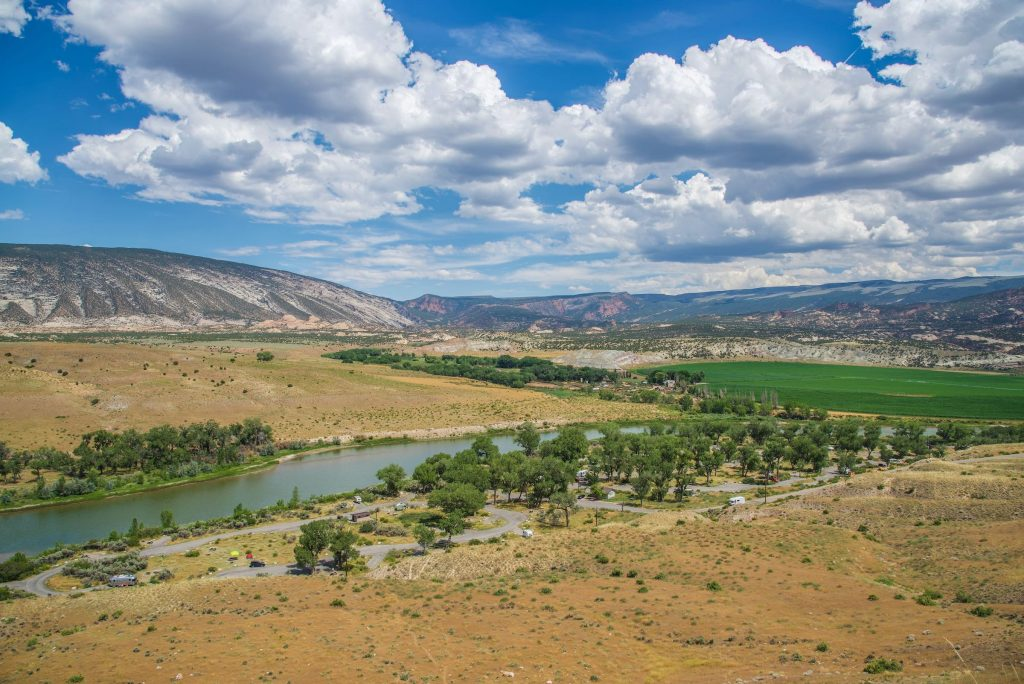 View overlooking Green River Campground in Dinosaur National Monument
